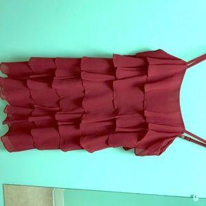 The Loft, red, layered, frill dress